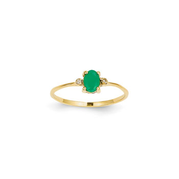 Girls Diamond Birthstone Ring - Genuine Emerald Birthstone with Diamond Accents - 14K Yellow Gold - Size 5 - BEST SELLER