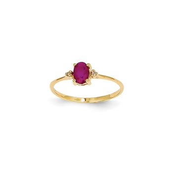 Girls Diamond Birthstone Ring - Genuine Ruby Birthstone with Diamond Accents - 14K Yellow Gold - Size 6