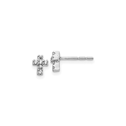 Tiny Diamond Cross 14K White Gold Earrings - 1/8 ct. tw. - Superior-Quality Heirloom Diamond Cross Earrings - Push-back posts - All ages (Baby - Teen) - BEST SELLER/