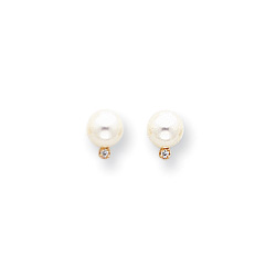 Cherished Pearls & Diamonds for Her - Freshwater Cultured Pearl Diamond 14K Yellow Gold Earrings (6.0mm - 6.5mm pearl) - Push-back posts/