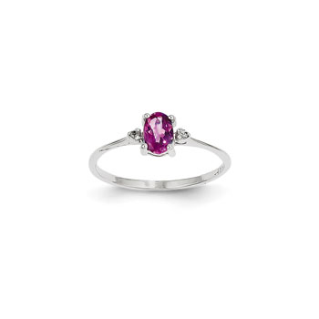 Girls Diamond Birthstone Ring - Genuine Pink Tourmaline Birthstone with Diamond Accents - 14K White Gold - Size 6