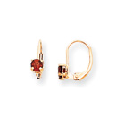 January Birthstone - Genuine Garnet 4mm Gemstone - 14K Yellow Gold Leverback Earrings