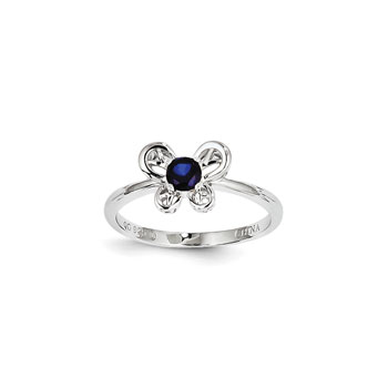 Girls Birthstone Butterfly Ring - Created Blue Sapphire Birthstone - Sterling Silver Rhodium - Size 5