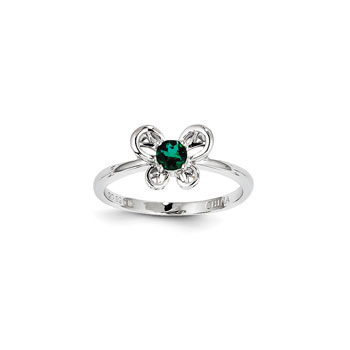 Girls Birthstone Butterfly Ring - Created Emerald Birthstone - Sterling Silver Rhodium - Size 6