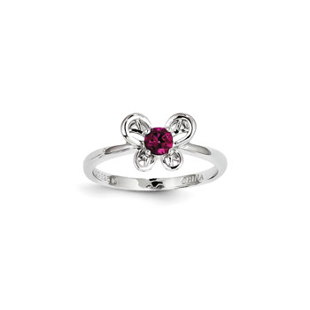 Girls Birthstone Butterfly Ring - Created Ruby Birthstone - Sterling Silver Rhodium - Size 6