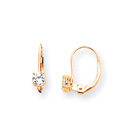 April Birthstone - Genuine White Zircon 4mm Gemstone - 14K Yellow Gold Leverback Earrings