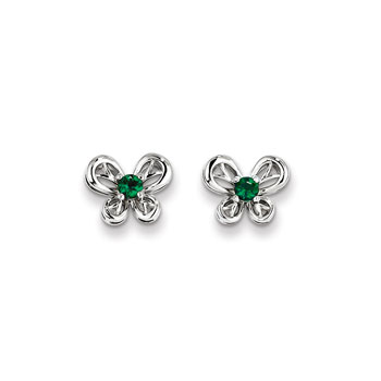 Girls Birthstone Butterfly Earrings - Created Emerald Birthstone - Sterling Silver Rhodium - Push-back posts - BEST SELLER