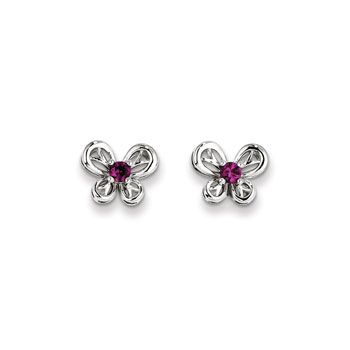 Girls Birthstone Butterfly Earrings - Created Ruby Birthstone - Sterling Silver Rhodium - Push-back posts