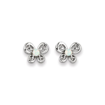 Girls Birthstone Butterfly Earrings - Created Opal Birthstone - Sterling Silver Rhodium - Push-back posts