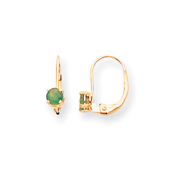 May Birthstone - Genuine Emerald 4mm Gemstone - 14K Yellow Gold Leverback Earrings/