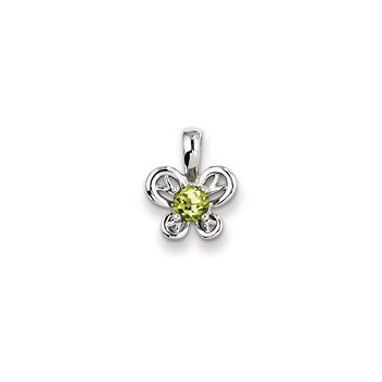 "Girls Birthstone Butterfly Necklace - Genuine Peridot Birthstone - Sterling Silver Rhodium - Includes a 16"" 1.5mm Grow-With-Me® sterling silver rhodium chain - Adjustable at 16"", 15"", 14"""