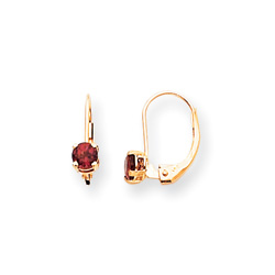June Birthstone - Genuine Rhodolite Garnet 4mm Gemstone - 14K Yellow Gold Leverback Earrings/