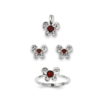 "Girls Birthstone Butterfly Jewelry - Genuine Garnet Birthstones - Size 5 Ring, Earrings, and Necklace Set - Sterling Silver Rhodium - 16"" adj. chain included - 3 Item Set - Save $15 with this set"