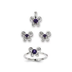 Girls Birthstone Butterfly Jewelry - Genuine Amethyst Birthstones - Size 5 Ring, Earrings, and Necklace Set - Sterling Silver Rhodium - 16