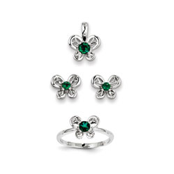 Girls Birthstone Butterfly Jewelry - Created Emerald Birthstones - Size 5 Ring, Earrings, and Necklace Set - Sterling Silver Rhodium - 16