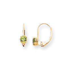 August Birthstone - Genuine Peridot 4mm Gemstone - 14K Yellow Gold Leverback Earrings/