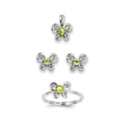 Girls Birthstone Butterfly Jewelry - Genuine Peridot Birthstones - Size 5 Ring, Earrings, and Necklace Set - Sterling Silver Rhodium - 16