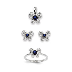 Girls Birthstone Butterfly Jewelry - Created Sapphire Birthstones - Size 5 Ring, Earrings, and Necklace Set - Sterling Silver Rhodium - 16
