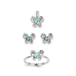 Girls Birthstone Butterfly Jewelry - Genuine Blue Topaz Birthstones - Size 5 Ring, Earrings, and Necklace Set - Sterling Silver Rhodium - 16