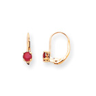 July Birthstone - Genuine Ruby 4mm Gemstone - 14K Yellow Gold Leverback Earrings