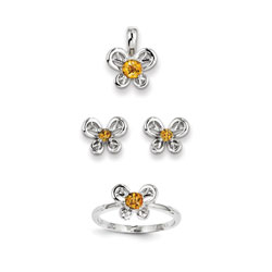 Girls Birthstone Butterfly Jewelry - Genuine Citrine Birthstones - Size 6 Ring, Earrings, and Necklace Set - Sterling Silver Rhodium - 16