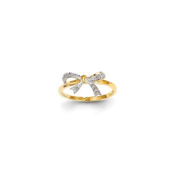 Princess Diamond Bow Ring - 14K Yellow Gold - Size 6