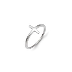 My First Communion - Girls Sideways Cross Ring - 14K White Gold - Size 5 1/2/