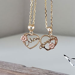 Mom, Daughter Breakable Hearts Pendant - 14K Two-Tone Yellow and Rose Gold - Chain Not Included - BEST SELLER/