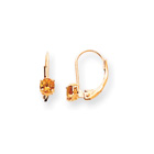November Birthstone - Genuine Citrine 4mm Gemstone - 14K Yellow Gold Leverback Earrings