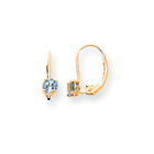 December Birthstone - Genuine Blue Topaz 4mm Gemstone - 14K Yellow Gold Leverback Earrings