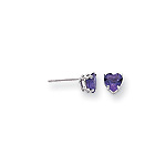 February Birthstone Girls Heart Earrings - Genuine Amethyst - 14K White Gold - Push-Back Posts