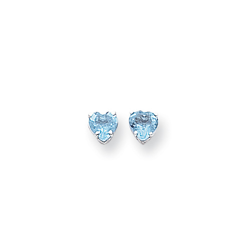 December Birthstone Girls Heart Earrings - Genuine Blue Topaz - 14K White Gold - Push-Back Posts