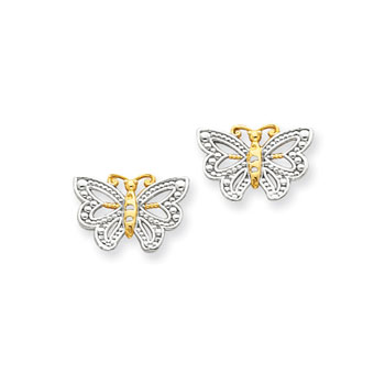 Gorgeous Two-Tone Butterfly Earrings for Tween and Teen Girls - 14K Yellow and Rhodium - Push-Back Posts - BEST SELLER