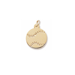 Rembrandt 10K Yellow Gold Baseball Charm - Engravable on front and back - Add to a bracelet or necklace - BEST SELLER/