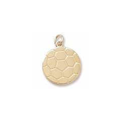 Rembrandt 10K Yellow Gold Soccer Ball Charm – Engravable on back - Add to a bracelet or necklace /