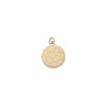 Rembrandt 14K Yellow Gold Soccer Ball Charm – Engravable on back - Add to a bracelet or necklace