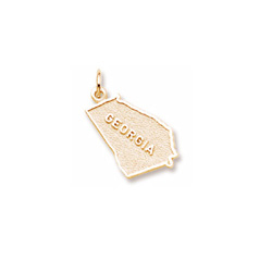 Rembrandt 14K Yellow Gold Georgia State Charm – Engravable on back - Add to a bracelet or necklace/