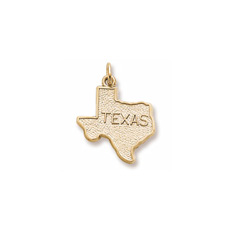 Rembrandt 10K Yellow Gold Texas State Charm – Engravable on back - Add to a bracelet or necklace/