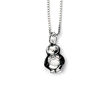 "Cutie Pie Penguin Diamond Pendant Necklace for Girls - Sterling Silver Pendant with one Genuine Diamond - Includes 14"" chain adjustable at 16"""