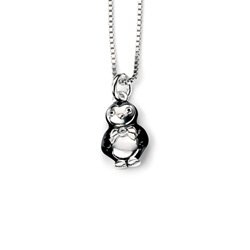 Cutie Pie Penguin Diamond Pendant Necklace for Girls - Sterling Silver Pendant with one Genuine Diamond - Includes 14