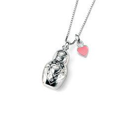 Russian Doll Secret Heart Diamond Movable Pendant Necklace for Girls - Sterling Silver Pendant with one Genuine Diamond - Includes 14
