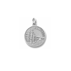 Rembrandt 14K White Gold Colorado State Charm – Engravable on back - Add to a bracelet or necklace/