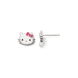 Girls Hello Kitty® Sterling Silver Enameled Earrings - Push-back posts/