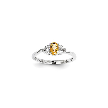 Girls Birthstone Heart Ring - Genuine Citrine Birthstone - Sterling Silver Rhodium - Size 6