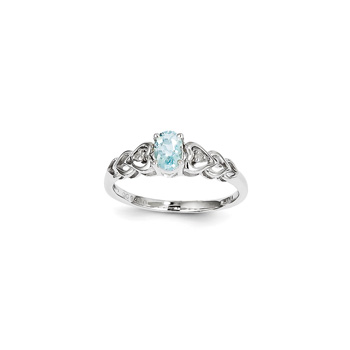 Girls Birthstone & Diamond Heart Ring - Genuine Diamond & Aquamarine Birthstone - Sterling Silver Rhodium - Size 5