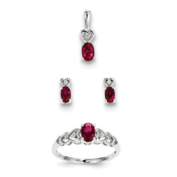 S Birthstone Heart Jewelry Created Ruby Birthstones Size 5 Ring Earrings And