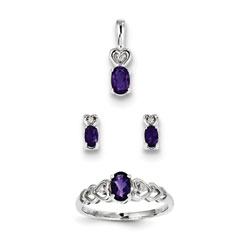 Girls Birthstone Heart Jewelry - Genuine Amethyst Birthstones - Size 6 Ring, Earrings, and Necklace Set - Sterling Silver Rhodium - 16