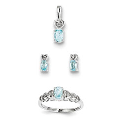 Girls Birthstone Heart Jewelry - Genuine March Birthstones - Size 6 Ring, Earrings, and Necklace Set - Sterling Silver Rhodium - 16