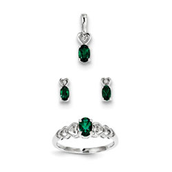 Girls Birthstone Heart Jewelry - Created Emerald Birthstones - Size 6 Ring, Earrings, and Necklace Set - Sterling Silver Rhodium - 16