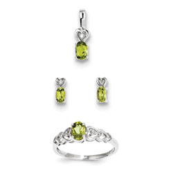 Girls Birthstone Heart Jewelry - Genuine Peridot Birthstones - Size 6 Ring, Earrings, and Necklace Set - Sterling Silver Rhodium - 16